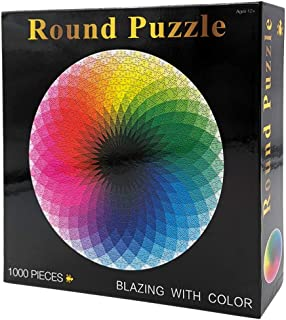 Moruska 1000 Piece Puzzles for Adults Teen - Gradient Color Rainbow Large Round Jigsaw Puzzle Difficult and Challenge
