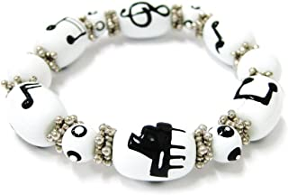Linpeng Woman Stretch Bracelet Hand Painted Piano & Music Notes Glass Beads, Size 8~12mm Length 7.5