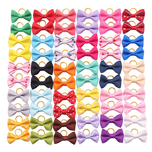 YAKA 60PCS (30 Paris) Cute Puppy Dog Small Bowknot Hair Bows with Rubber Bands Handmade Hair Accessories Bow Pet Grooming Products (60 Pcs,Cute Patterns) (Rubber Bands Style 1)