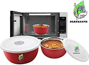 Parasnath Microwave Safe Stanless Steel Euro Lid Bowl Set 3 Bowl Set-16,18 and 20 cms