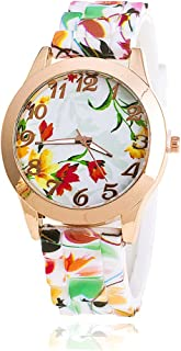 NYKKOLA Women Silicone Printed Flower Rainbow Causal Quartz Wrist Watches Chronograph Silicone Watch