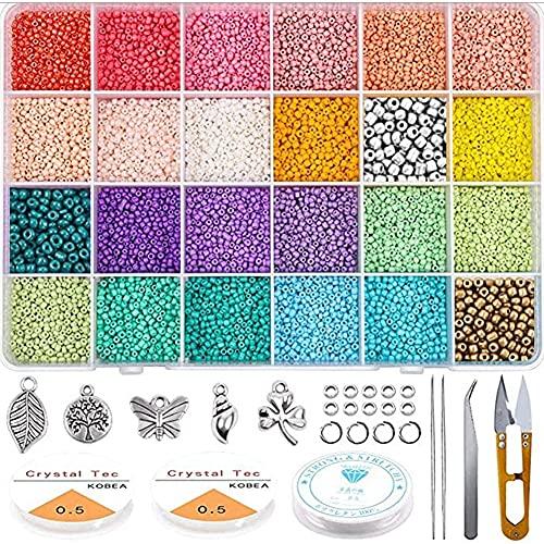 SHJOEE 19200pcs Kit de inicio de cuentas de vidrio 2mm Abalorios para Hacer Pulseras 24 Colores Cuentas de Colores para Los niños Mini Cuentas y Abalorios Cristal para DIY Pulseras Collares Bisutería