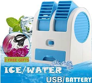 99AMZ Portátil Pequeño USB Aire Acondicionado Mini Silencioso Pequeño Split Climatización Móviles Enfriadores de Aire Humidificador Ventilador De Mesa con Aromaterapia Boca Doble con Pilas (Azul)