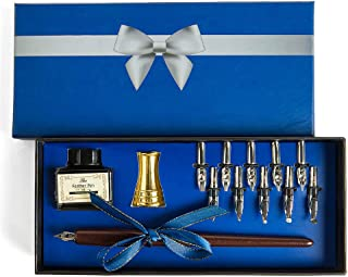 Hethrone Wooden Calligraphy Pen Set, Handcrafted Dip Pen Writing Case with Ink & Golden Pen Holder&10 Nibs.