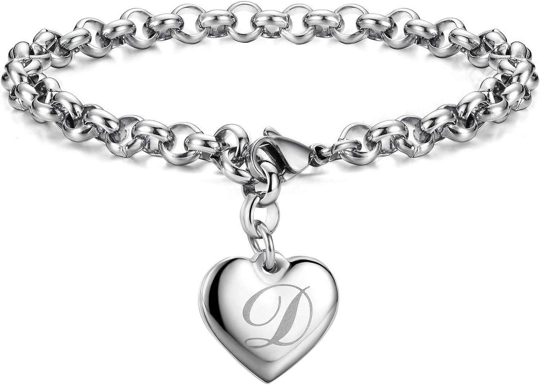 Initial Charm Bracelets Stainless Steel Heart 26 Letters Alphabet for Women