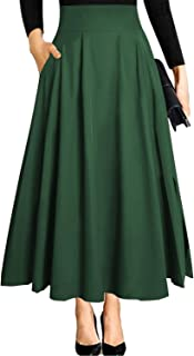 Women's Ankle Length High Waist A-line Flowy Long Maxi Skirt with Pockets