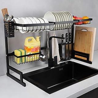Séchoir sur le dessus de l'évier - Égouttoir en acier inoxydable, présentoir, accessoires de cuisine, accessoires de range...