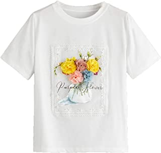 SheIn Women's Casual Summer Short Sleeve Floral Appliques Letter Print Relaxed-Fit Crew Neck Tee Shirt T-Shirt