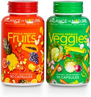Balance Of Nature Fruit and Vegetable Supplements - 90 Fruit and 90 Veggie Capsules - Green and...