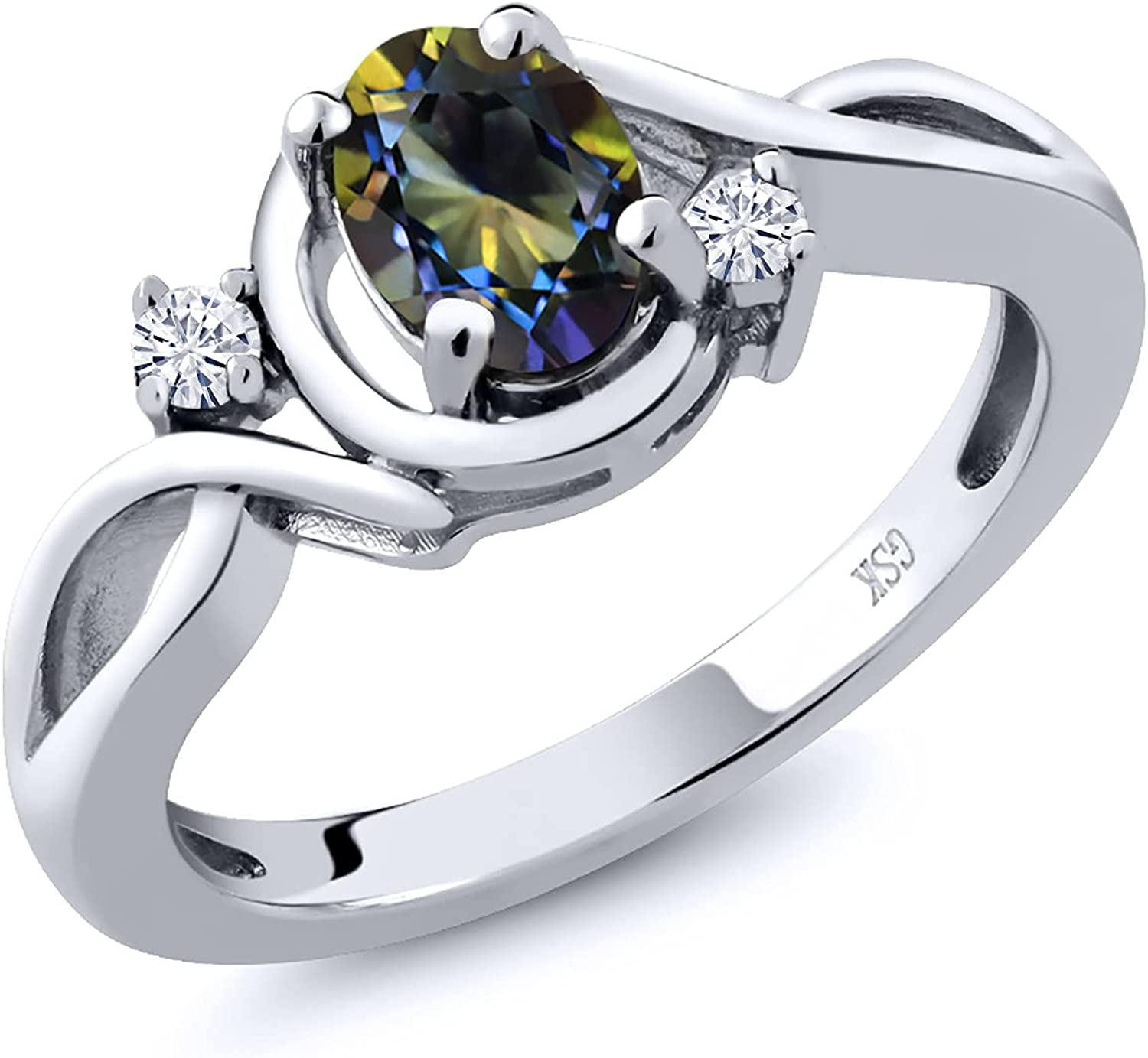 925 Sterling Sales of SALE items from new works Silver Fashion SALENEW very popular! Right-Hand Ring Top Mystic Blue Oval