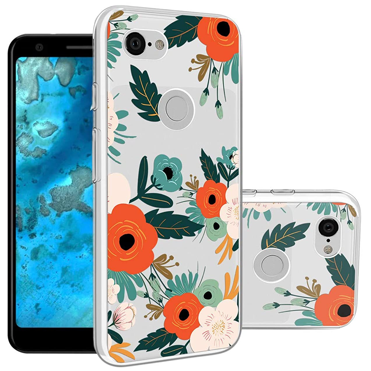 Topnow Google Pixel 3a Case, Shockproof Ultrathin Soft TPU Advanced Printing Pattern Cover Phone Case for Google Pixel 3a - Flowering