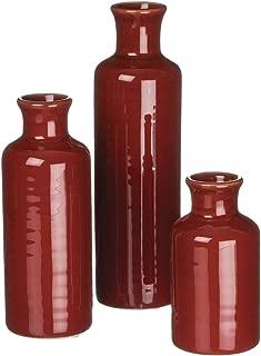 Sullivans Set of 3 Assorted Sizes Deep Red Vase