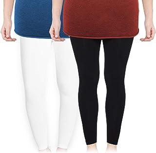 ea1245fc4392 LovelyToo Women's Soft Cotton Ankle Length Legging Combo (Pack of 2 Black,  White)