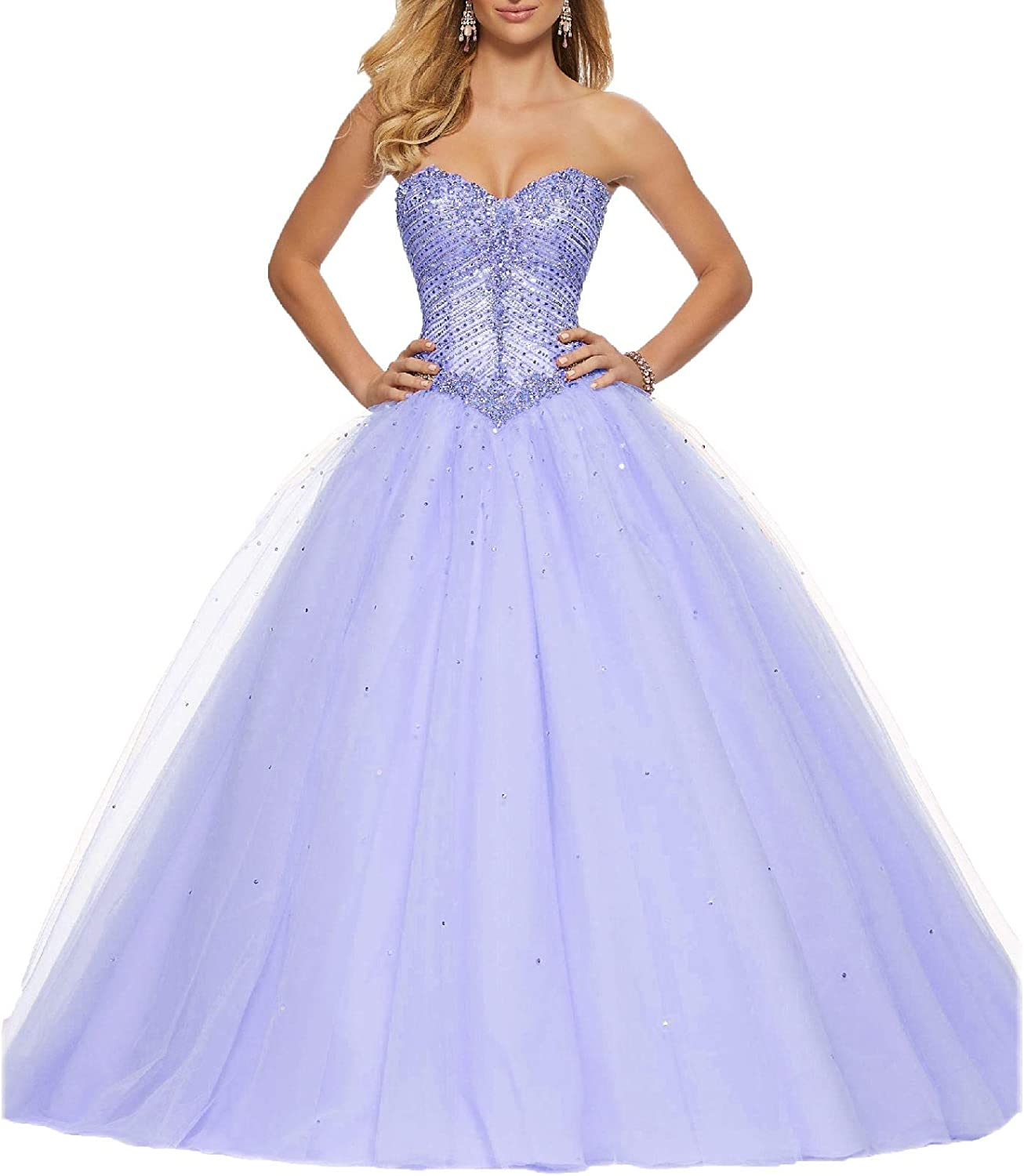 Wanshaqin Crystals HandBeaded Sequins Sweetheart Formal Evening Gown Wedding Dress Plus Size for Special Occasions