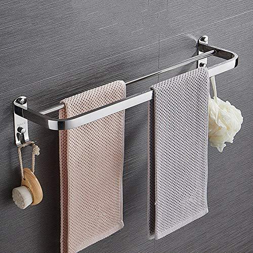 toalleros de Acero Inoxidable toallero Doble Barra Colgador Toalla Pared perforación Libre con Gancho Autoadhesivo para baño e Inodoro-UN_Los 48cm