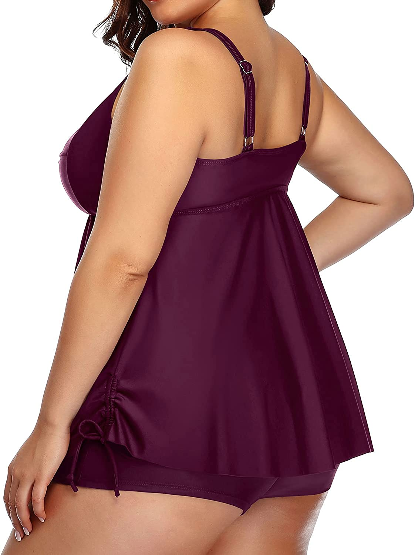 Aqua Eve Women Plus Size Tankini Swimsuit Two Piece Flowy Swimdress Bathing Suits with Shorts