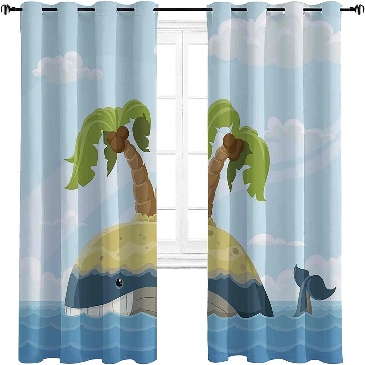 Max 43% OFF Fish Blackout Curtains with Cartoon Grommets Whale store darken