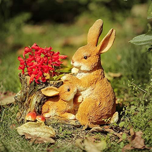Rabbit Garden Planter Outdoor Statue, Mother Rabbit with Bunny