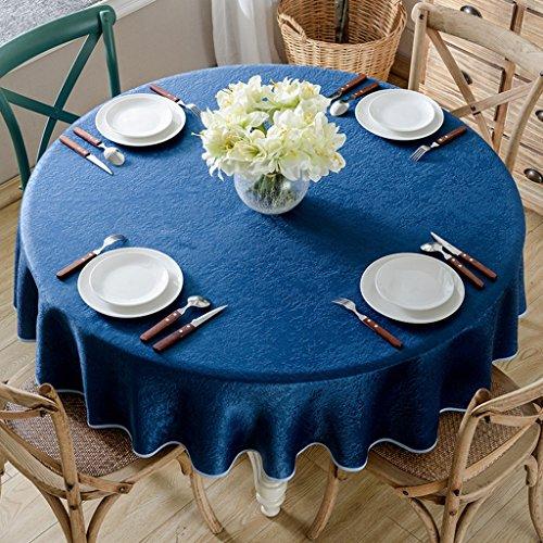 Couverture ronde bleue de table de tissu de style européen grande nappe ronde pour pour la table de buffet, les parties, le dîner de vacances, le mariage et plus (taille : 130cm)