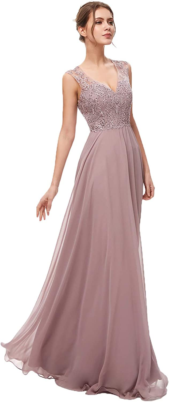 Belle House Women's Long V Neck Elegant A Line Formal Evening Dresses