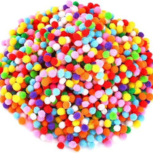 Amacoam Pon Pon Colorati Piccoli Pom Pom 10 mm 2000 Pezzi Palla Pompon Forniture per Hobby e Fai da Te Creativo Mestieri Decorazioni Colori Assortiti