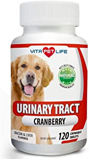 Cranberry for Dogs, Urinary Tract Support, Antioxidants with Apple Cider Vinegar, Prevents UTI, Bladder Infections, Bladder Stones and Dog Incontinence. Antibacterial, 120 Natural Chew-able Tablets.