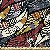 ABAKUHAUS Africano Tela por Metro, Líneas Círculos Sardinetas, Decorativa para Tapicería y Textiles del Hogar, 1M (148x100cm), Multicolor