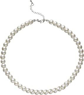 Round Imitation Pearl Necklace Wedding Pearl Necklace for Brides White