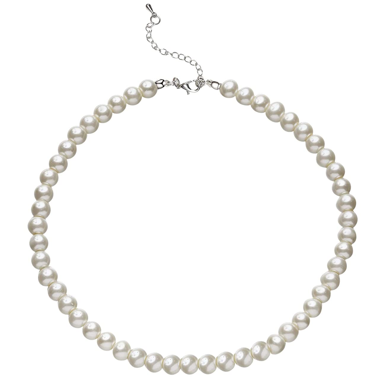 BABEYOND Round Imitation Pearl Necklace Wedding Pearl Necklace for Brides White