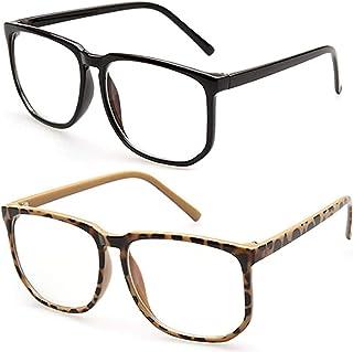 2PCS Vintage Oversize Blue Light Blocking Glasses per Mid Big Face Occhiali con montatura quadrata Nerd Nero/Tartarugato L...