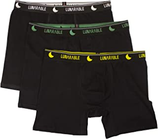 Lunarable Men's Breathable Black Cotton Boxer Briefs Pack of 3