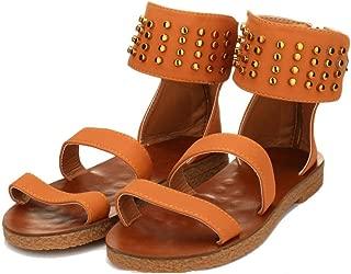 YYW Womens Espadrille Platform Sandals Ankle Strap Open Toe Rivets Summer Flatform Sandals