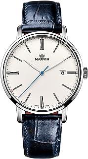 スイス製 Marvin Origin シリーズ 石英ムーブメント ステンレスケース ホワイト文字盤 靑いワニ紋革の時計バンド ファッション腕時計
