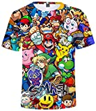 Silver Basic Camisetas de los Hombres Mario Camisas de impresión en 3D Juego Tops Juego Divertido Ropa Azul-3 M…