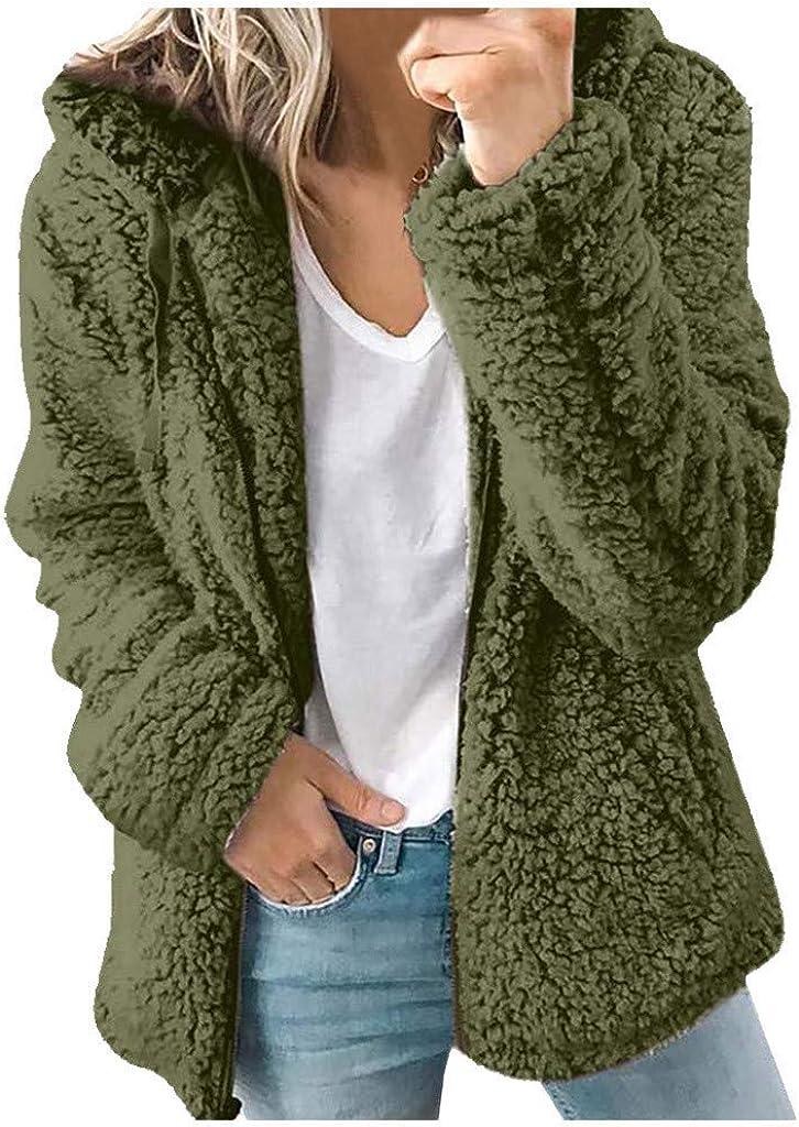 Aniywn Fluffy Women Hoodies Coats Fleece Fuzzy Faux Shearling Warm Winter Jacket Zip Up Long Sleeve Outerwear Jacket Tops