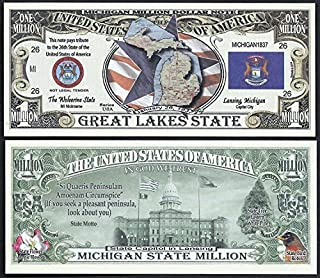 Michigan State Educational Million Dollar Bill W Map, Seal, Flag, Capitol - Lot of 100 Bills
