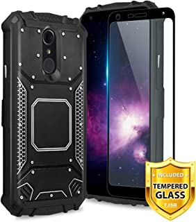 TJS LG Q7 / LG Q7 Plus Case, with [Full Coverage Tempered Glass Screen Protector] Aluminum Metal Premium Drop Protection Shockproof Military Phone Case Cover Built-in Metal Plate Back (Black)