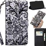 DodoBuy 3D Hülle für LG V50 ThinQ, Flip PU Leder Schutzhülle Handy Tasche Brieftasche Wallet Hülle Cover Ständer mit Kartenfächer Trageschlaufe Magnetverschluss - Spitze Schwarz