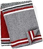 Genuine Mexican Handwoven Blanket Premium Large Heavyweight Falsa Blanket, Serape & Yoga Blanket | Beach Blanket | Throw Blanket | Tassel-Less Design | Made in Mexico (Solid Red)