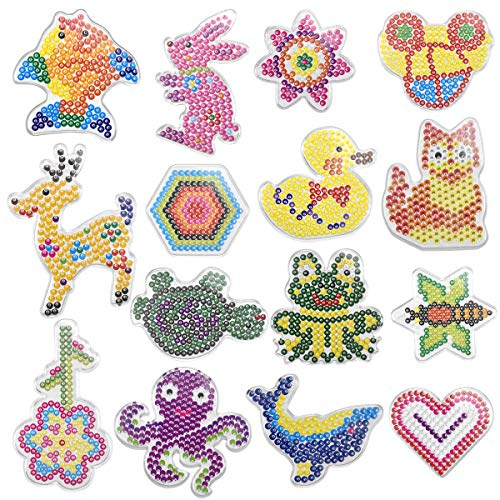 NATUCE 15 Pezzi Animale Piastre per Decorazioni con Perline, Perline Fusione, 15 Carte Modello Grafico, Perline da Stirare, Perline a Fusione, Pegboard per Il Tempo Libero Creativo, Piastre di Perline