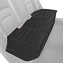 Motor Trend Black Universal Car Seat Cushion, Rear Bench Seat – Padded Luxury Cover with Non-Slip Bottom & Storage Pockets, Faux Leather Cushion Cover for Car Truck Van and SUV