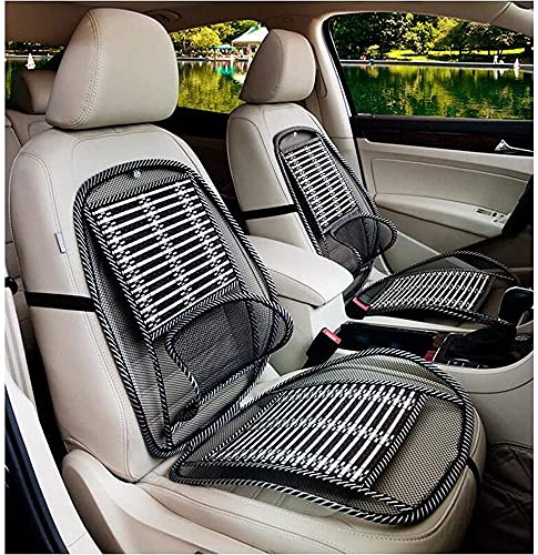 Car Seat Office Chair Bamboo Chip Cover Cushion with Wire Mesh Lumbar Back Support, Breathable Cool Black Mesh with Strap Comfortable Ventilate Support Cushion Pad for All Types Car Seats