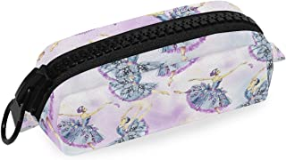 ATONO Ballet Dancers Watercolor Painting Purple Pencil Pen Bag Marker Zippers Pouch Holders Stationery Cases Canvas Storage Box 7.48x2.95x3.34 Inch for Kids, Boys&Girls