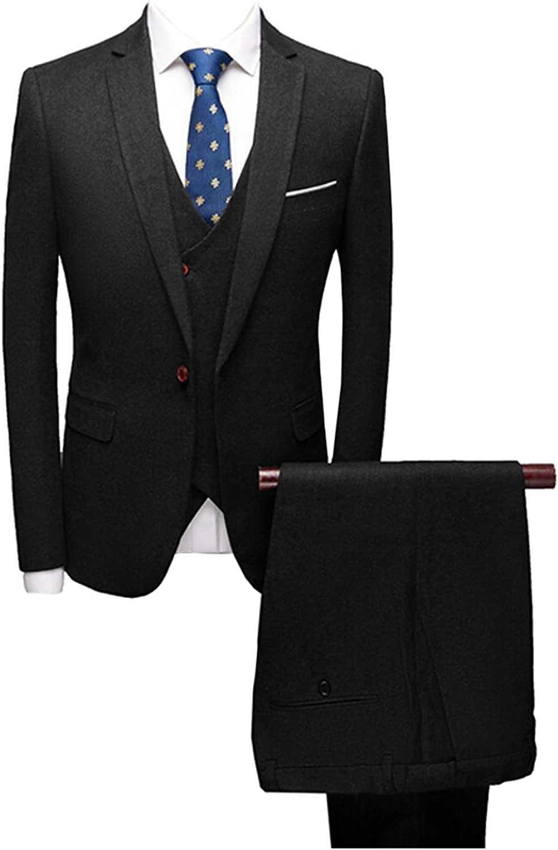 Wemaliyzd Men's 3 Pieces Formal Evening Party Suit Woolen V-Neck Vest Pants
