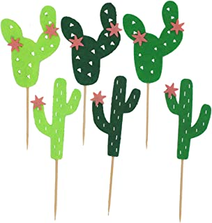 TinaWood 54PCS Cactus Cupcake Toppers for Cake Decorations Hawaii Party Favors Tropical Cacti Theme Summer Birthday Party ...