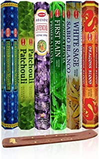 Six Most Popular Hem Incense Scents of All Time, 120 Sticks Total, with Free Burner - 20 Sticks Each of Dragon's Blood, Fr...