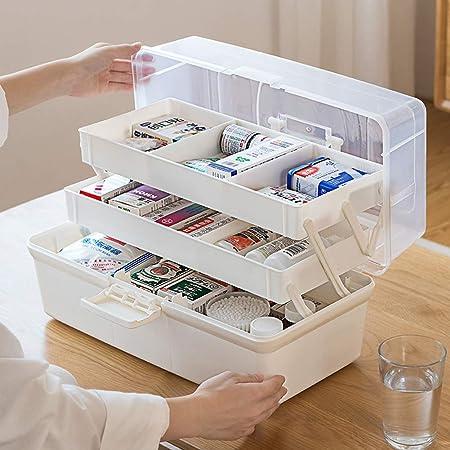 Cestbon Boîte Armoire à Pharmacie Grande médecine fermant à clé Medikamentenbox armoires de Rangement boîte de médicaments Medizinbox pour la Maison et Vacances,Blanc