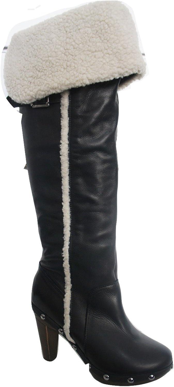 Ex-next Schnalle Schnalle Schnalle und Webpelz Detail Fold Over Kniehohe Stiefel  501a32