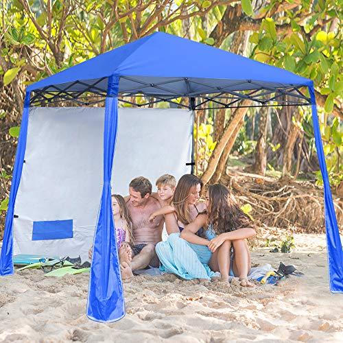 ABCCANOPY Pop-Up Canopy Tent Sun Protection Comapct and Lightweight Beach Canopy Slant Leg Backpack Canopy,Royal Blue