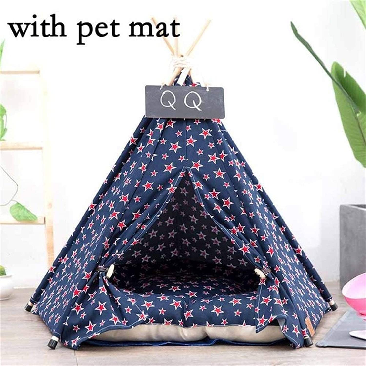 Stripe Teepee Pet Washable Portable House Toy Cat Bed Dog